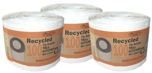 300 Recycled Tie Handle Tall Kitchen Bin Liners (Fits up to 50L Kitchen Bins)