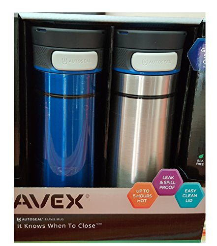 Avex Thermal Mug, 2 Pack in Blue and Silver