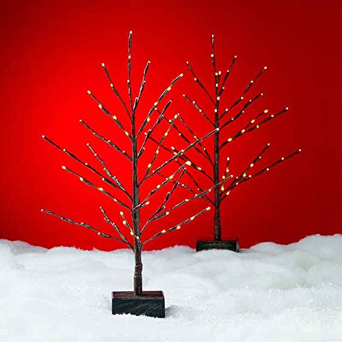 Set of 2 LED Tabletop Twig Trees Christmas Decoration with Timer