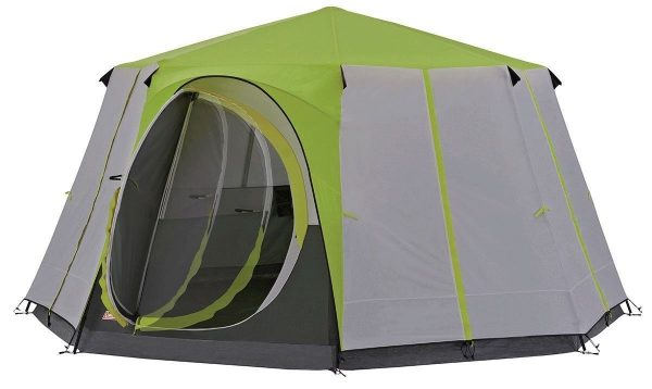 'Coleman Cortes Octagon 8 Person Deluxe Family Tent Green Grey Camping/Glamping '