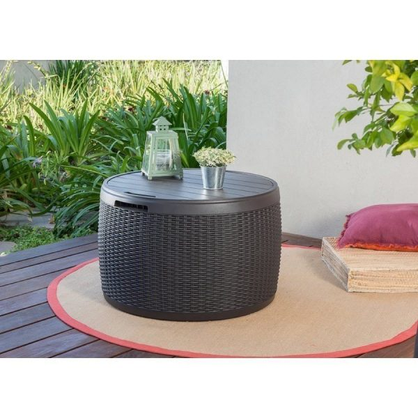 'Keter Circa Storage Box Rattan Look 37 Gallon 140L Side or Patio Table'