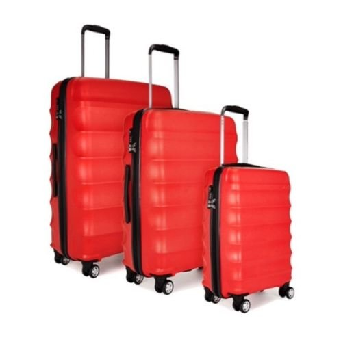 Antler Juno 79cm + 68cm + 56cm 3 Piece Suitcase Set - TSA Lock - With 10 Years Warranty! (Red)