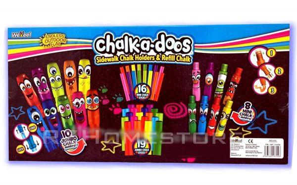 Chalk-A-Doos Pavement Sidewalk Chalk Holders & Refill Chalks 53 Piece Street Art