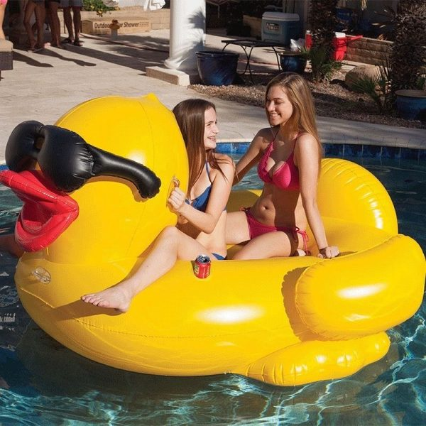 Minkle Giant Inflatable Pool Floating Riding Derby Duck w/Cup Holders and Straps