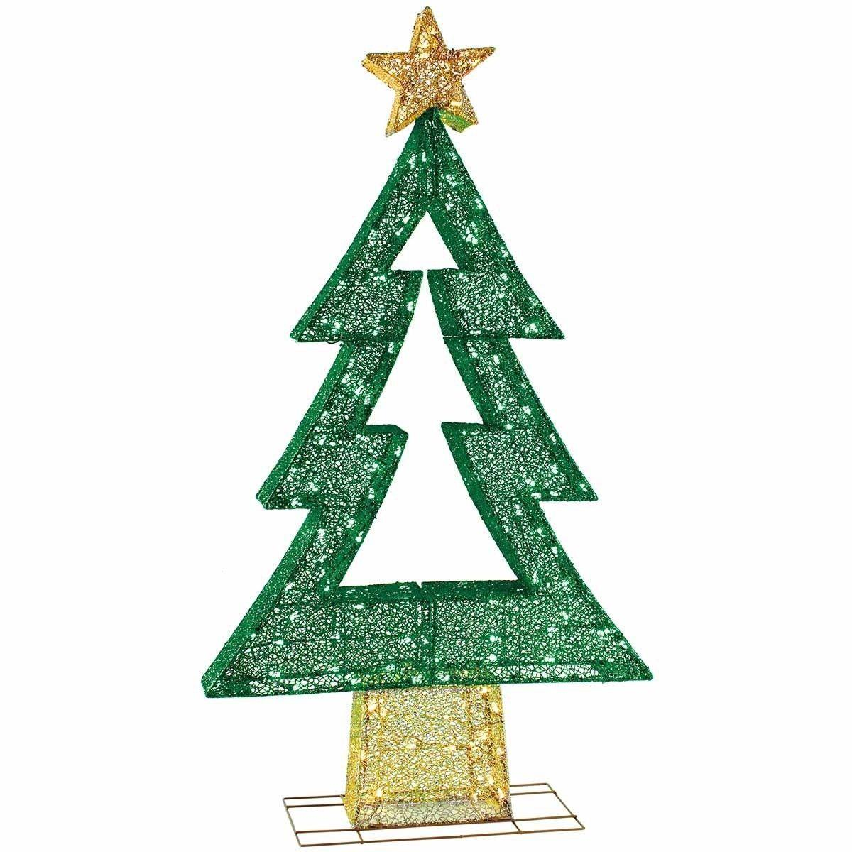 "5ft 4"" (165.1cm) Mesh Zig Zag Christmas Tree With 175 Warm ..."