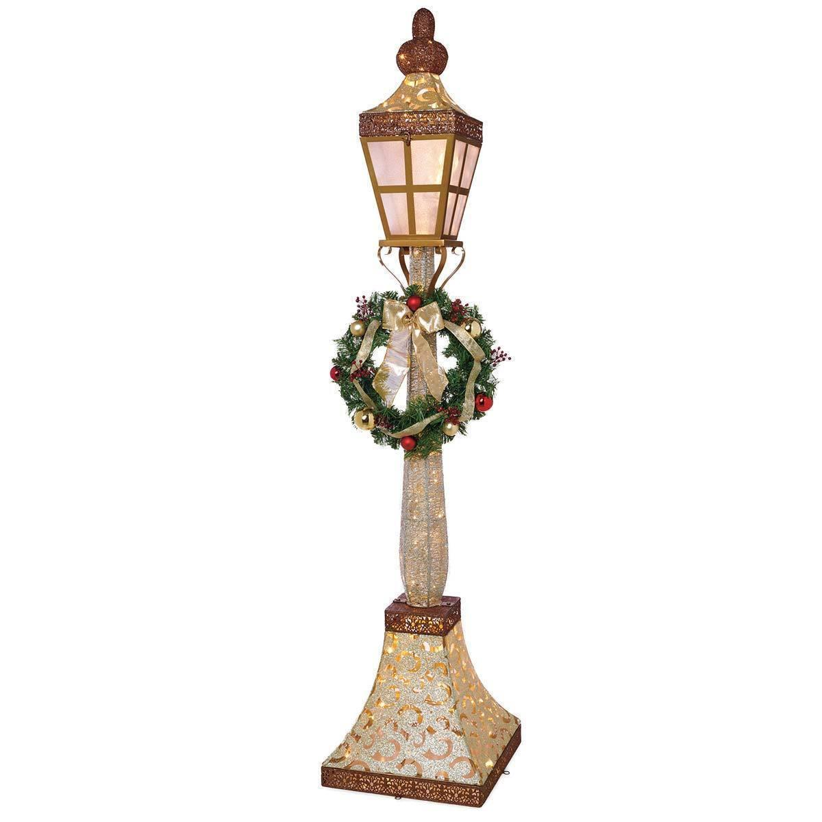 Outdoor Lamp Decoration: 6ft (1.83m) 120 LED Indoor Outdoor Glitter Gold Lamp Post