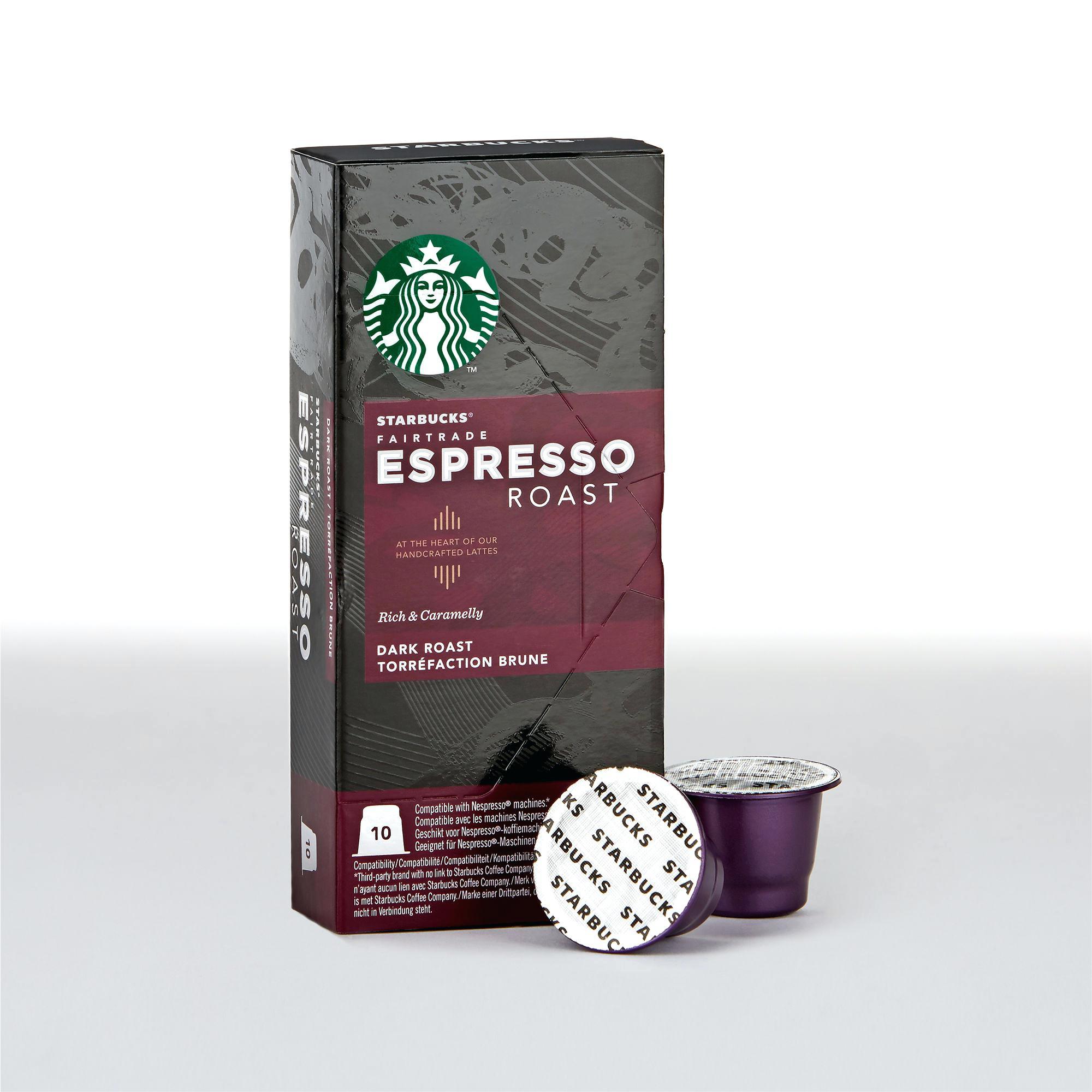 Starbucks Fairtrade Espresso Roast Nespresso Compatible Capsules Pack Of 12 Total 120 Pods