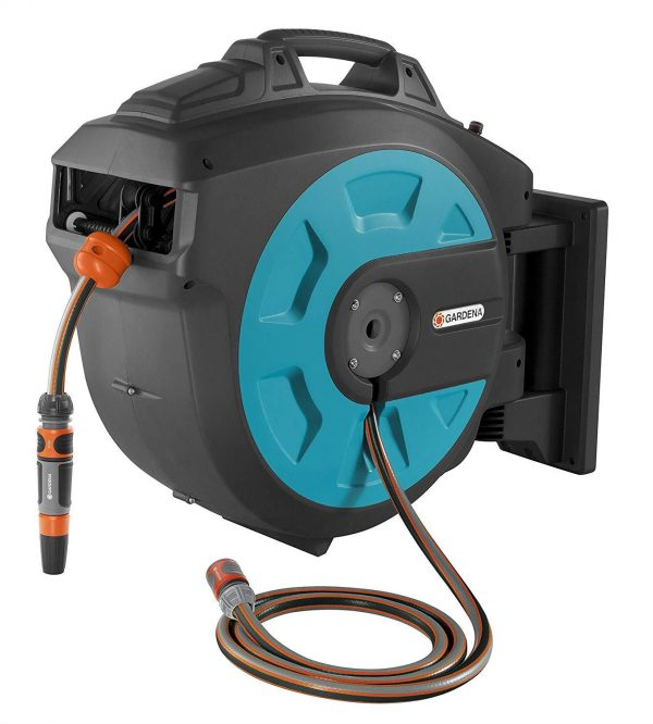 GARDENA Wall-Mounted Hose Box 35 roll-up automatic: Swivelling hose reel, 35-m GARDENA high-quality hose, short locking stops, including wall bracket, system parts, and spray nozzle (8024-20)
