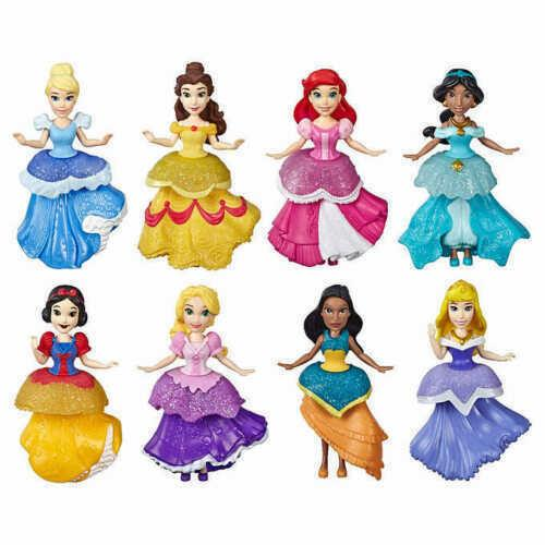 Disney Princess Small Dolls 8 Pack Collection Sparkling Styles Set with Clip-on Dresses