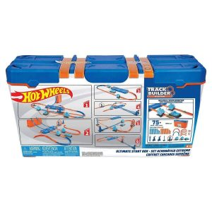 Hot Wheels Track Builder Ultimate Stunt Box with 6 Hot Wheel Cars 75+ Pieces