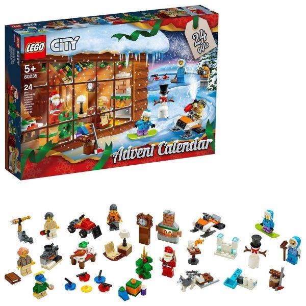 LEGO 60235 City Advent Calendar 2019 Set with 24 Buildable Gift Toys, Father Christmas Santa and 6 Minifigures plus Husky Dog Figure