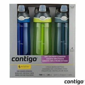 Contigo Autospout 709ml Water Bottle with Straw Single/3 Pack BPA Free Bottles