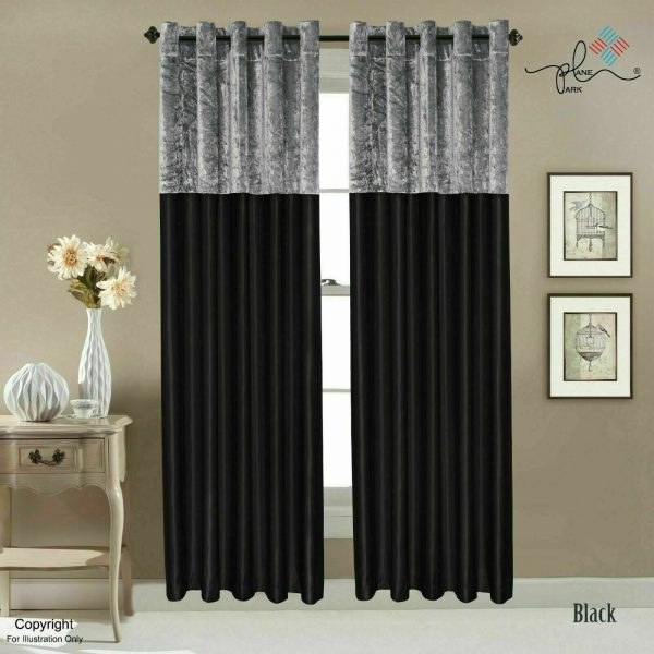 Crushed Velvet Band Faux Silk Eyelet Curtains - Fully Lined Ring Top in 8 Sizes