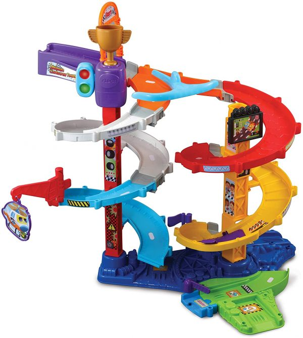 VTech Toot-Toot Drivers Twist & Race Tower, Racing Cars for Boys and Girls, Car Tracks for Kids with Lights and Sounds, Musical Toy Race Track for Children Aged 12 Months to 5 Years