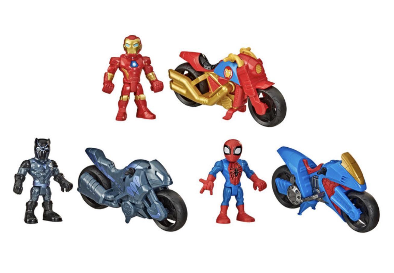 MARVEL SUPERHERO ADVENTURE MOTORBIKE SET IRON MAN SPIDER-MAN AND BLACK PANTHER