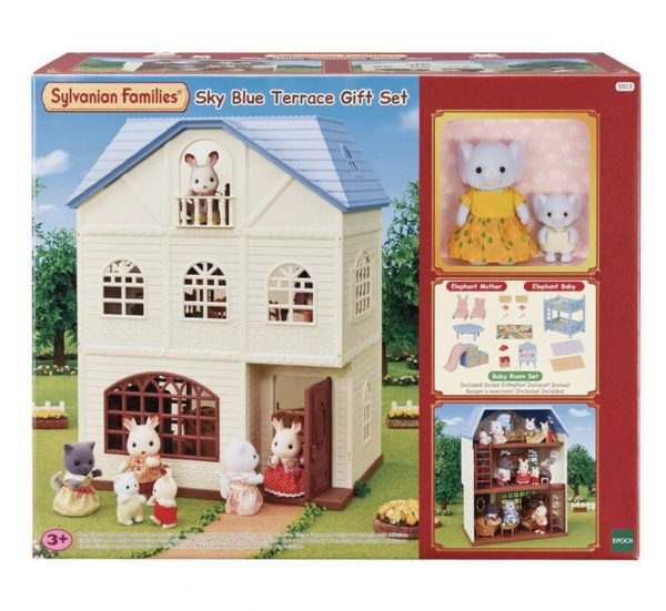 Sylvanian Families Sky Blue Terrace Gift Set with Elephant Mother & Baby