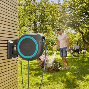 Gardena Wall Mounted Hose Reel 35m Automatic Retractable Hose Box RollUp XL