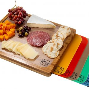 Seville Classics Bamboo Chopping Board with 7 Colour Coded Removable Cutting Mats