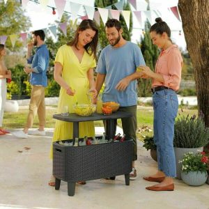 Keter Bevy Bevvy Bar Cooler Party/Garden Table 56 Litre Cool Box (60 US Quart)