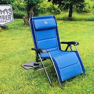 Timber Ridge Zero Gravity folding padded Lounger with cup and phone holder